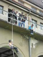 12.06.2012 Reppeling aktion with my people from the USA. 3. Step - 10 meter high balcony.